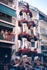 13-8-1995: Primer cinc de set descarregat de la Jove de Sitges a la plaça del Cap de la Vila