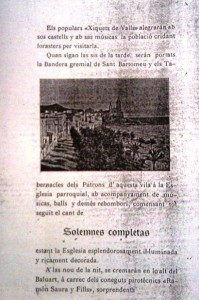 Programa de la Festa Major de 1900 on s'anuncia  la presencia dels Xiquets de Valls
